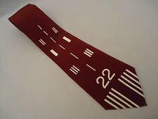 Vintage SPORTYS PILOT SHOP NECK TIE SILK DESIGNER PLANE RUNWAY 22 PATTERN Maroon