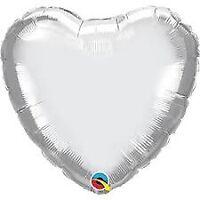 """HEART SILVER PLAIN FOIL BALLOON 18"""" (UNPACKED) QUALATEX FOIL BALLOON"""