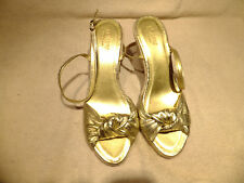 """J. Crew Womens Sz 9M Gold Fabric Wedge 3.5"""" Heel Sandals Made In Italy NICE!"""