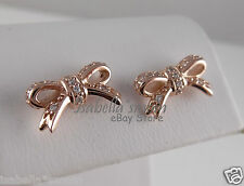 SPARKLING BOW 100% Authentic PANDORA Clear CZ/ROSE GOLD Plated STUD Earrings NEW