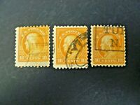USA Lot of 3 Wash-Franklin 1916-22 Issue #472 Used - See Description & Images