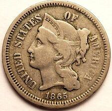 1865 THREE 3 CENT NICKEL FINE CONDITION  #MC_244