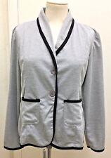 AIMEILI Woman's Soft Grey Knit Trimmed In Black 2 Button Blazer Jacket Size XL