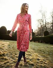 Joules Womens Winslet Long Sleeve Button Front Shirt Dress - Red Ditsy - 16
