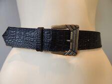 Nos Vintage Black Vegan Crocodile Lizard Gator Dress Belt Boho Disco Retro Mod