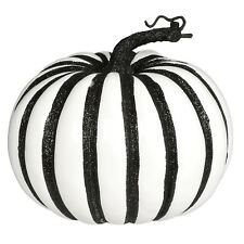 Gothic Christmas Party Large White Pumpkin Black Glitter Stripe Prop Decoration