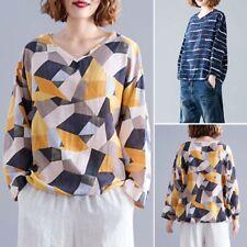 ZANZEA Women Long Sleeve Crewneck Top Tee T Shirt Loose Baggy Printed Blouse