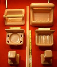 6 pcs. Vintage…Pink Ceramic Bathroom Set...Soap Dish Toilet Paper Holder & More