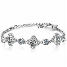 925 Sterling Silver Natural Zircon Clover Chain Bracelet WomenJewelry Xmas Gifts