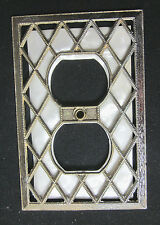 Vintage Brass Outlet Plate Cover Diamond Screen Pattern Ivory Plastic Background