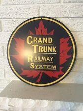 "Grand Trunk Railway System Maple Leaf Logo Heavy Metal Sign 14"" Round New DL"