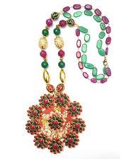 430Cts. Antique Pachi Work Designer & Onyx Beads Gemstone Necklace Women & Girl