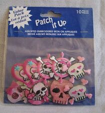 Patch It Up Iron on appliques 10 pcs pink skulls and hearts