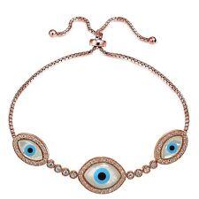 Rose Gold Tone over 925 Silver CZ & Mother of Pearl Evil Eye Adjustable Bracelet