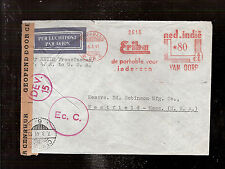 DEV.15 Netherlands Indies Currency Censored airmail meter stamp cover 1941 Erika