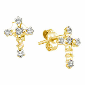 14kt Yellow Gold Womens Round Diamond Cross Earrings 1/20 Cttw