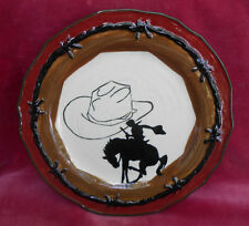SONOMA HOME GOODS HAPPY TRAILS SALAD PLATE HORSE COWBOY HAT STEER ROPE
