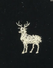 EMBROIDERED Champagne on BLACK Silk Velvet Fabric - Deer