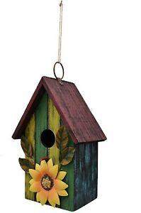 Rustic Decorative Bird House ,Outdoor Hanging Wood Hand-Painted Bird House Decor