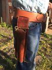 Vintage Hunter Hard Leather 22 Winchester Rifle Scabbard Holster Cartridge Belt