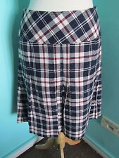 """NAVY RED WHITE CHECKED SKIRT SEMI PLEATED FROM NICE SIZE 11 WAIST 30"""""""
