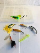 Plano 3700 Tackle Box With 7 Vintage Fishing Lures Heddon T-4 MORE