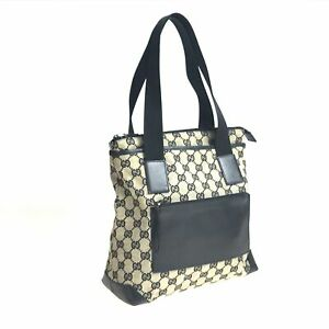 100% authentic GUCCI canvas × leather 019-0402 bag black used 1546-11A97