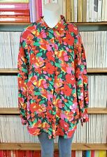 Womens Vtg 90s Silk Shirt Blouse Oversize Loose Bold Floral Print 14 16 US 10 12