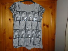 Grey, silver and black photo style cap sleeve top, MISS E-VIE, 11-12 years