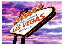 Welcome to Fabulous Las Vegas Nevada Postcard Sign Clouds Purple Pink New