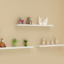 UK Pack of 3 Floating Wooden Wall Shelves Shelf Wall Storage 80cm - White