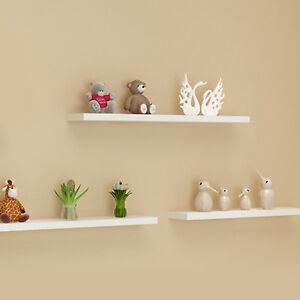 UK Pack of 3 Floating Wooden Wall Shelves Shelf Wall Storage 80cm - White