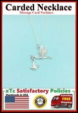 New Mom Gift; Handcrafted Silver Stork Bringing The BABY Charm Necklace.