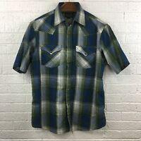 Pendleton Mens Size Medium Frontier Plaid Short Sleeve Pearl Snap Shirt Western