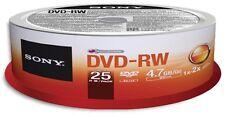 25-Pak SONY 2X Logo-top 4.7GB DVD-RW Media In Cakebox, #25DMW47SP