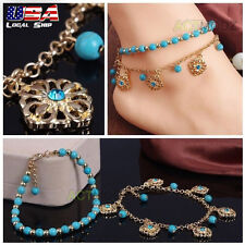 Women Gold Flowers Chain Anklet Turquoise Bracelet Barefoot Sandal Foot Jewelry