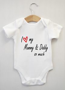 I love my Mummy & Daddy Mum Dad Baby Grow Bodysuit Vest Top Babygrow Gift