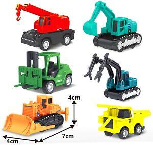 6pc Construction Gift Set JCB Excavator Digger Vehicle Children pull back toy 2+