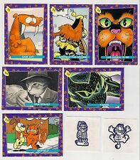 """Skybox 1992 Garfield Trading Cards #22 - #29, lot of 6 """"9 Lives"""" Cave Cat,orange"""