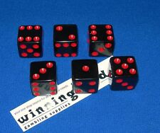NEW 9 BLACK DICE w/ RED PIPS 16MM BUNCO YAHTZEE FREE SHIPPING