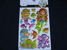 planche de stickers déco enfant en reliefs métallisés sirenes animaux de la mer