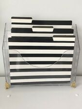Set Of 12 Black & White Stripped File Folders & 24 Gold Labels! = Clean Office