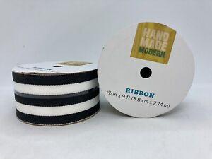 "2 Rolls Handmade Modern Black & White Striped Cloth Ribbon 1 1/2"" x 9' Each Roll"