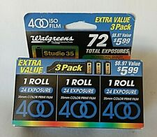 Vintage 3 Pack of Iso 400 Film Walgreens Studio 35, 35Mm 72 Exposures 07/2001