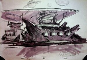 STAR WARS EP1 THE PHANTOM MENACE Davy Liu SIGNED Production Concept Art #YL 4