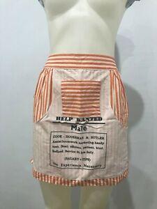 Vintage 1960's Kitchen Apron Retro Mod GoGo Help Needed Male Wanted Orange