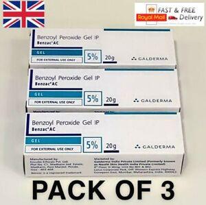 3 x Benzoyl Peroxide Gel 5% for Acne Vulgaris Spot Blackhead Pimples 20g Benzac
