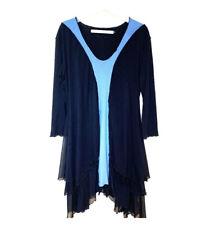 Cynthia Ashby blue & black layered Nylon Spandex dress