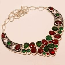 "PRETTY GARNET & CHROME DIOPSIDE GEMSTONE Jewelry NECKLACE 18"" EX-N30"