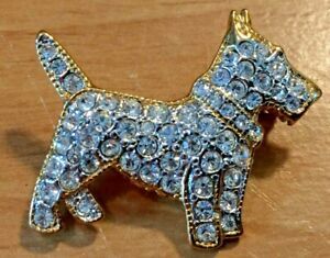 "Scottish Terrier Pave Rhinestone 1.5"" Brooch/Pin Signed Roman"